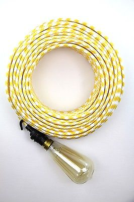 yellow + white fabric electrical cloth textile cord | double insulated 3 core wire