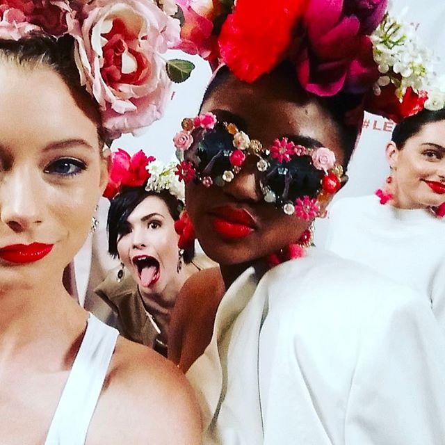 flower flirting backstage in @rrachelroy w/our fabulous #lexuscfw models |selfie from @savartdesign
